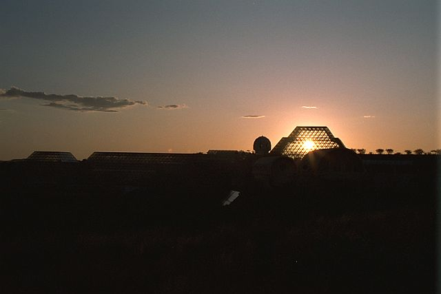 Biosphere 2 at sunset