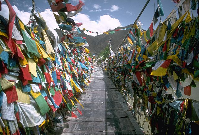 Lhasa bridge lined with prayer flags