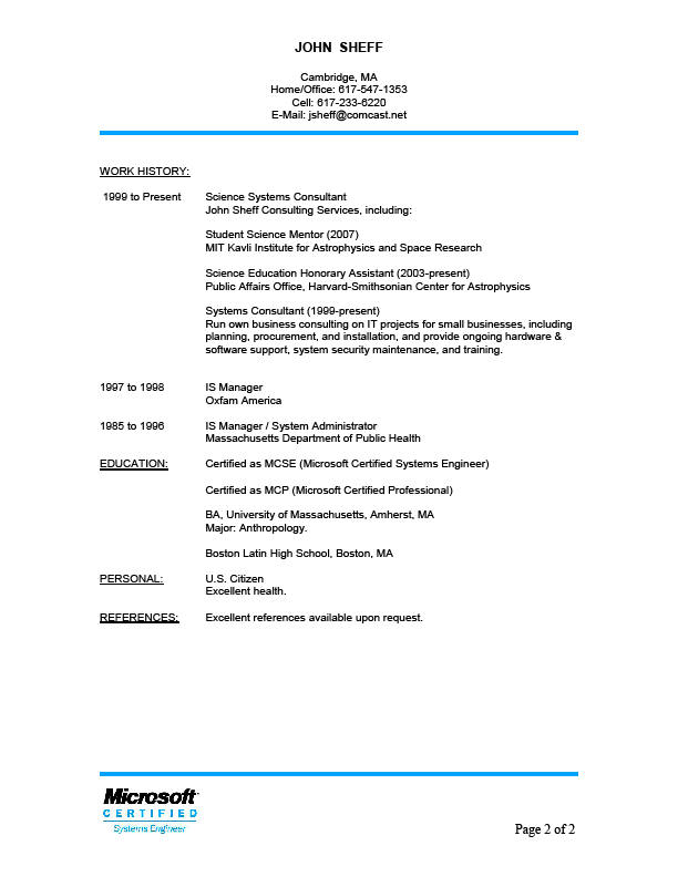 Resume reference upon request sample resume